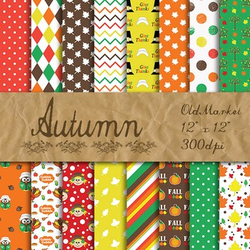 Autumn Digital Paper Pack - 16 Different Papers - 12inx12in - Thanksgiving Paper
