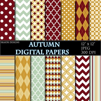 Autumn Digital Papers Red Yellow Green Geometric Background Polka Dot Chevron
