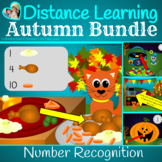 Autumn Distance Learning Thanksgiving and Halloween Number Recognition Bundle