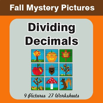 Autumn: Dividing Decimals - Color-By-Number Math Mystery Pictures