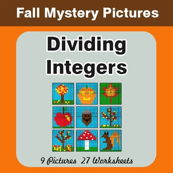 Autumn: Dividing Integers - Color-By-Number Math Mystery Pictures