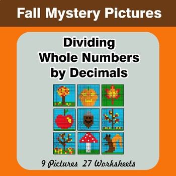 Autumn: Dividing Whole Numbers by Decimals - Math Mystery Pictures