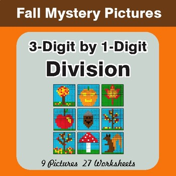 Autumn: Division: 3-Digit by 1-Digit - Color-By-Number Mystery Pictures