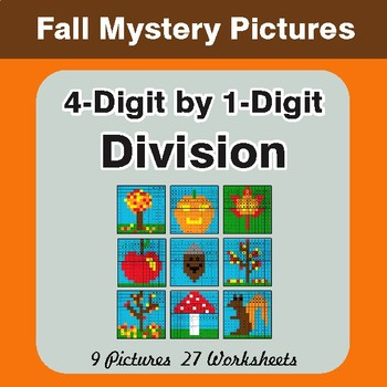 Autumn: Division: 4-Digit by 1-Digit - Color-By-Number Mystery Pictures
