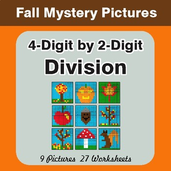 Autumn: Division: 4-Digit by 2-Digit - Color-By-Number Math Mystery Pictures