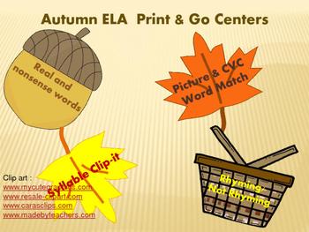 Autumn ELA Print & Go Centers