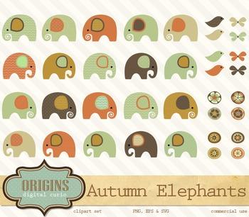 Autumn Elephants Clipart