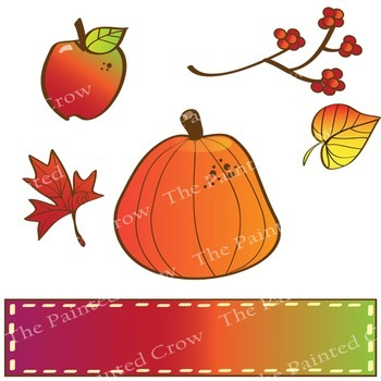 Autumn Clipart - 30 Piece Fall Clipart Set Includes Color & Blackline Drawings