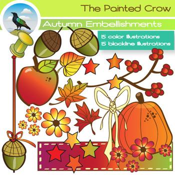 Autumn Clipart - 30 Piece Fall Clipart Set Includes Color & Blackline Drawings