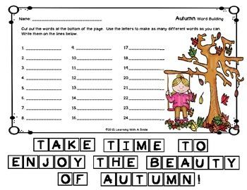 Autumn FREEBIE - Word Building - Great Activity for Fast Finishers and Centers