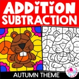 Autumn Fall Addition Facts & Subtraction Facts Color by Nu