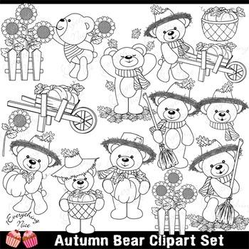 Autumn Fall Bear Clipart Set