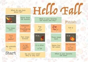 Autumn/Fall Board Game ESL
