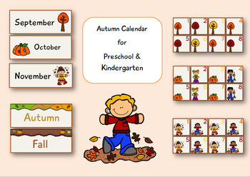 Autumn/ Fall Calendar for Preschool and Kindergarten