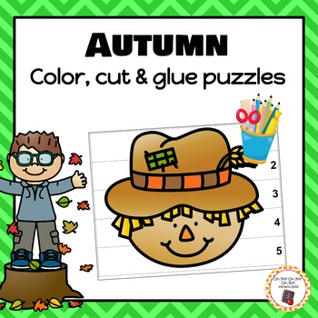 Autumn/Fall Color, Cut and Glue Puzzles