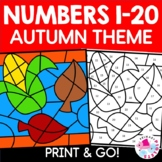 Autumn Fall Color by Code Color by Number Set
