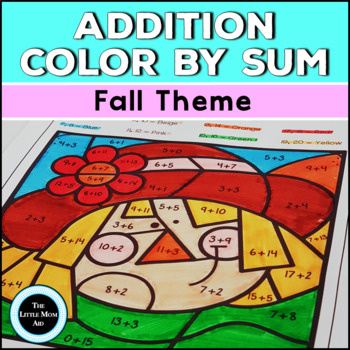 Autumn / Fall Color by Sum Addition Fact Fluency to 10, 15, 20