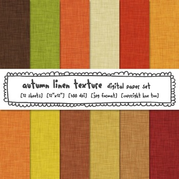 Autumn Fall Colors Linen Texture Digital Paper, Red, Orange, Yellow, Brown