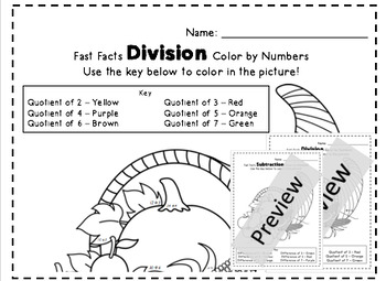 1st, 2nd, 3rd Grade Winter Break Division and Subtraction Color by Numbers