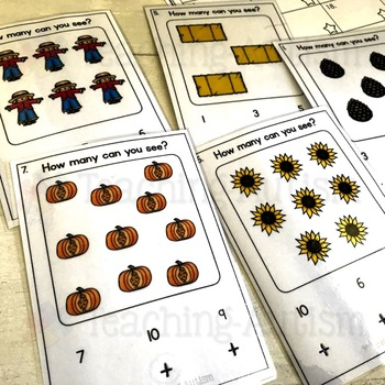 Autumn, Fall, Counting Task Cards, Math Activity