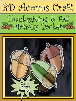 Autumn-Fall Crafts: 3D Acorns Thanksgiving Craft Activity Packet