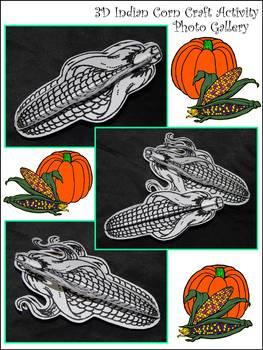 Autumn-Fall Crafts: 3D Indian Corn Thanksgiving Craft Activity Packet