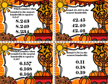 Autumn (Fall) Decimal Rounding Task Cards