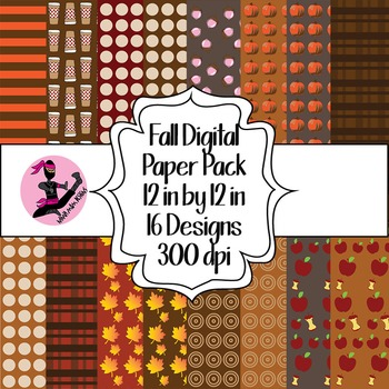 Autumn Fall Digital Paper- 16 Designs- 12 by 12- 300 dpi