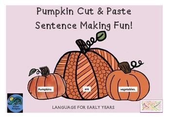 Autumn Fall Halloween Pumpkin Cut & Paste Sentence Making