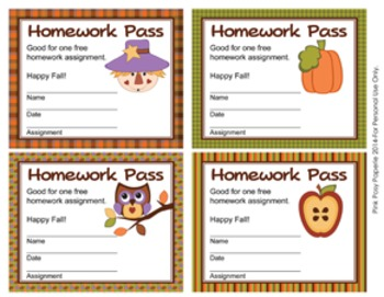 Autumn Fall Homework Passes
