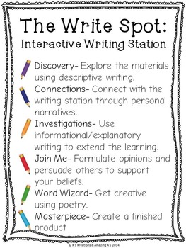 Autumn/ Fall - Interactive Writing Station: The Write Spot (Grades 3-5)