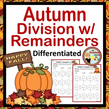 Autumn / Fall Leaves Division w/ Remainders - Color the Re