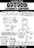 Autumn / Fall Literacy Centers for Kindergarten B&W