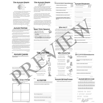 Autumn Fall Literacy and Math Activity Packet for Grade 2 3 4 and 5 Worksheets