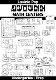 Autumn / Fall Math Centers for Kindergarten B&W