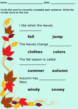 Autumn / Fall - Math, Writing, and Coloring Activity Worksheets Packet