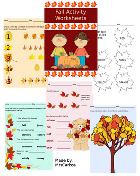 Autumn / Fall - Math, Writing, and Coloring Activity Works