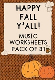 Autumn/Fall Music Worksheets_NO PREP_Pack of 31