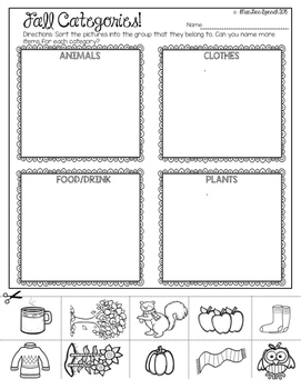 Autumn Fall NO PREP Speech and Language Activities GAMES Worksheets!