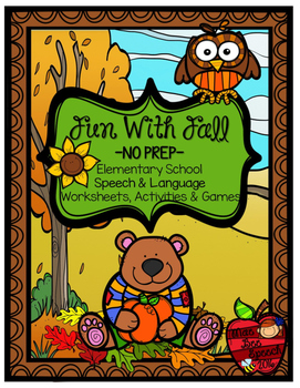 Autumn Fall NO PREP Speech and Language Activities GAMES W