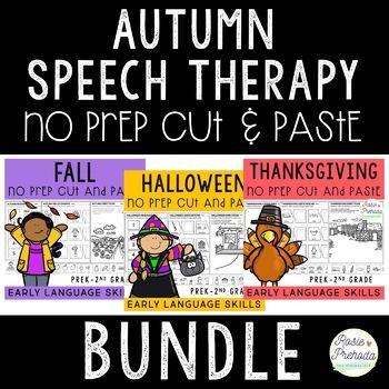 Autumn/Fall No Prep Cut and Paste PreK-2 Language Activities