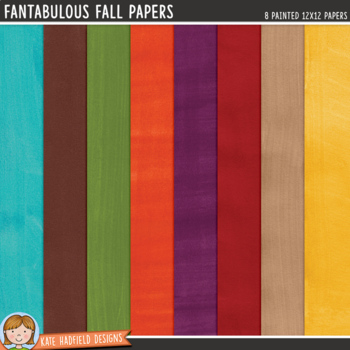 Autumn / Fall Painted Digital Paper Pack