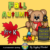 Fall Autumn Pre K Math and Literacy Activities