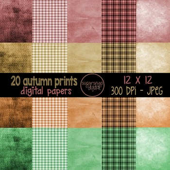 20 Autumn Fall Print Digital Background Scrapbooking Papers