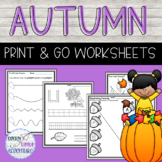 Autumn/Fall Print & Go Worksheets (Pre-K)