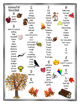 Autumn/Fall Printable Student Word Bank