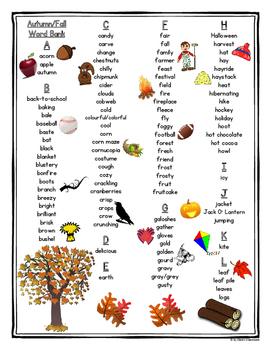 Autumn/Fall Printable Student Word Bank