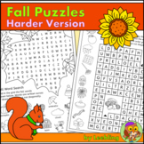 Fall Puzzles, Autumn Puzzles - Harder Version - Fall Crossword, Fall Word Search