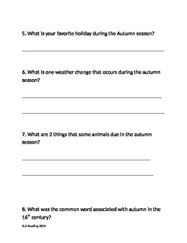 Autumn Fall Season - Review Article Questions Vocabulary Writing PDF