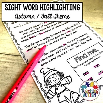 Autumn Sight Words, Fall Sight Words, Read and Highlight